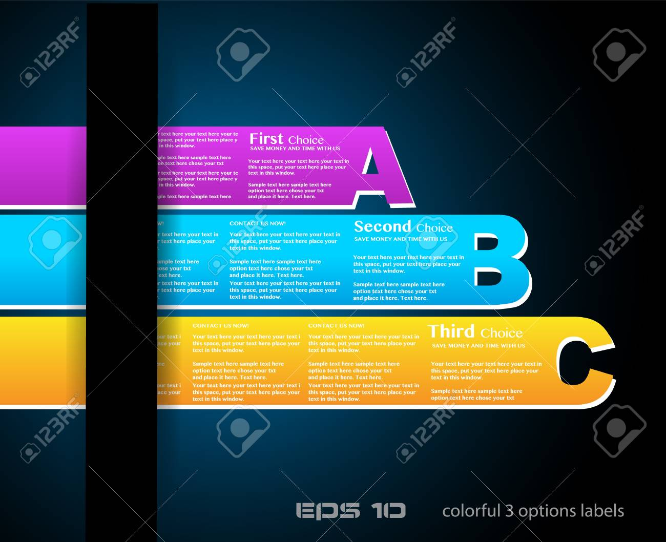 Paper style labels with 3 choices  Ideal for web usage, depliant for product comparison or infographics or business presentation Stock Vector - 13640184