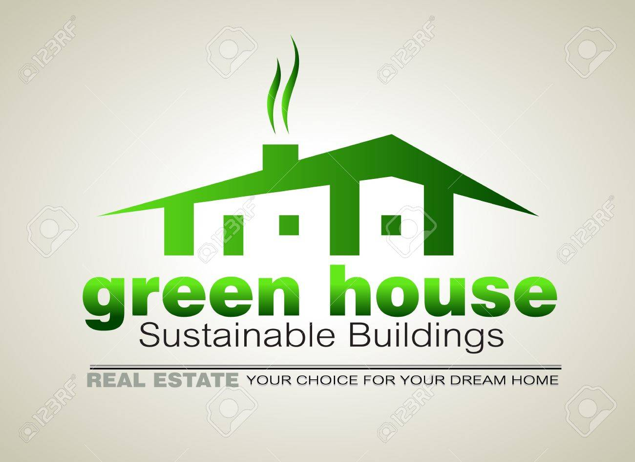 Green Eco sustainable  house icon to use for real estate flyers or posters. Stock Vector - 14094333