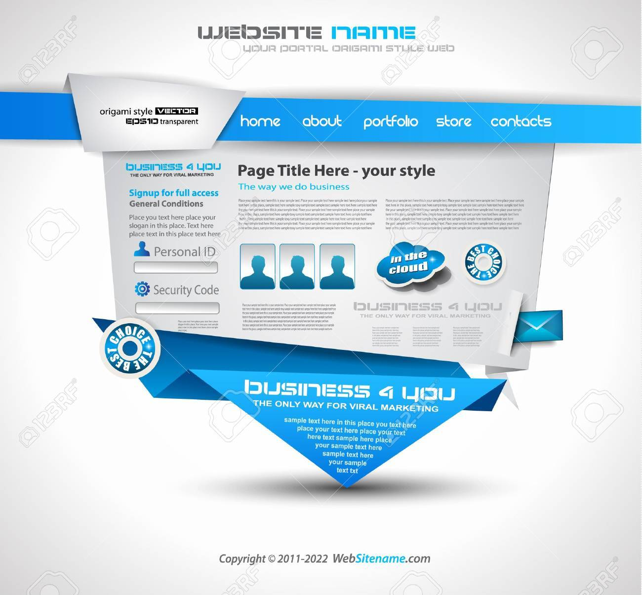 Origami Website - Elegant Design for Business Presentations. Template with a 3 side choices panel. Transparent shadows. Stock Vector - 14094339