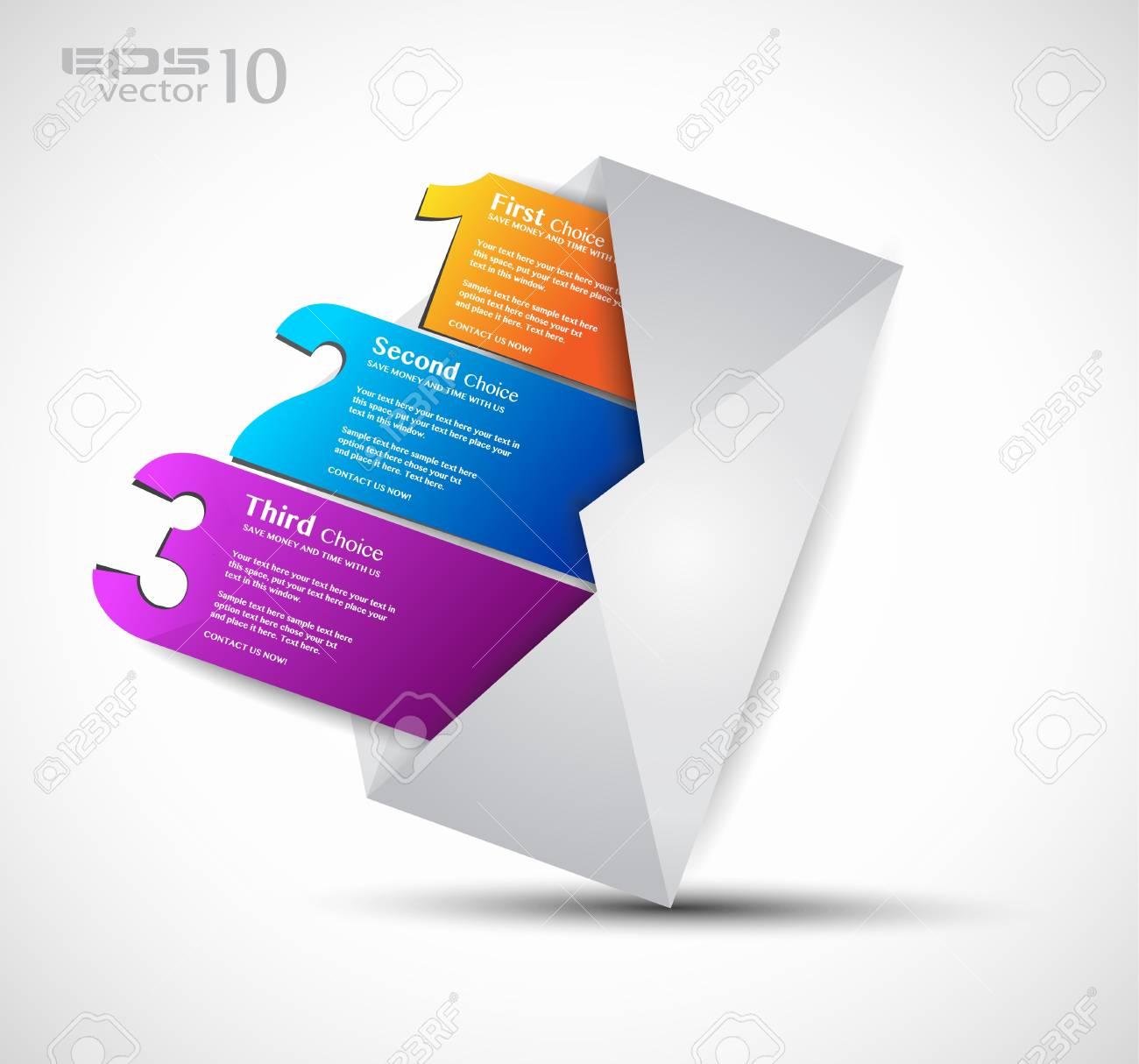 Postcard  menù with 3 choices. Ideal for web usage, depliant for product comparison or business presentation. Stock Photo - 14719520