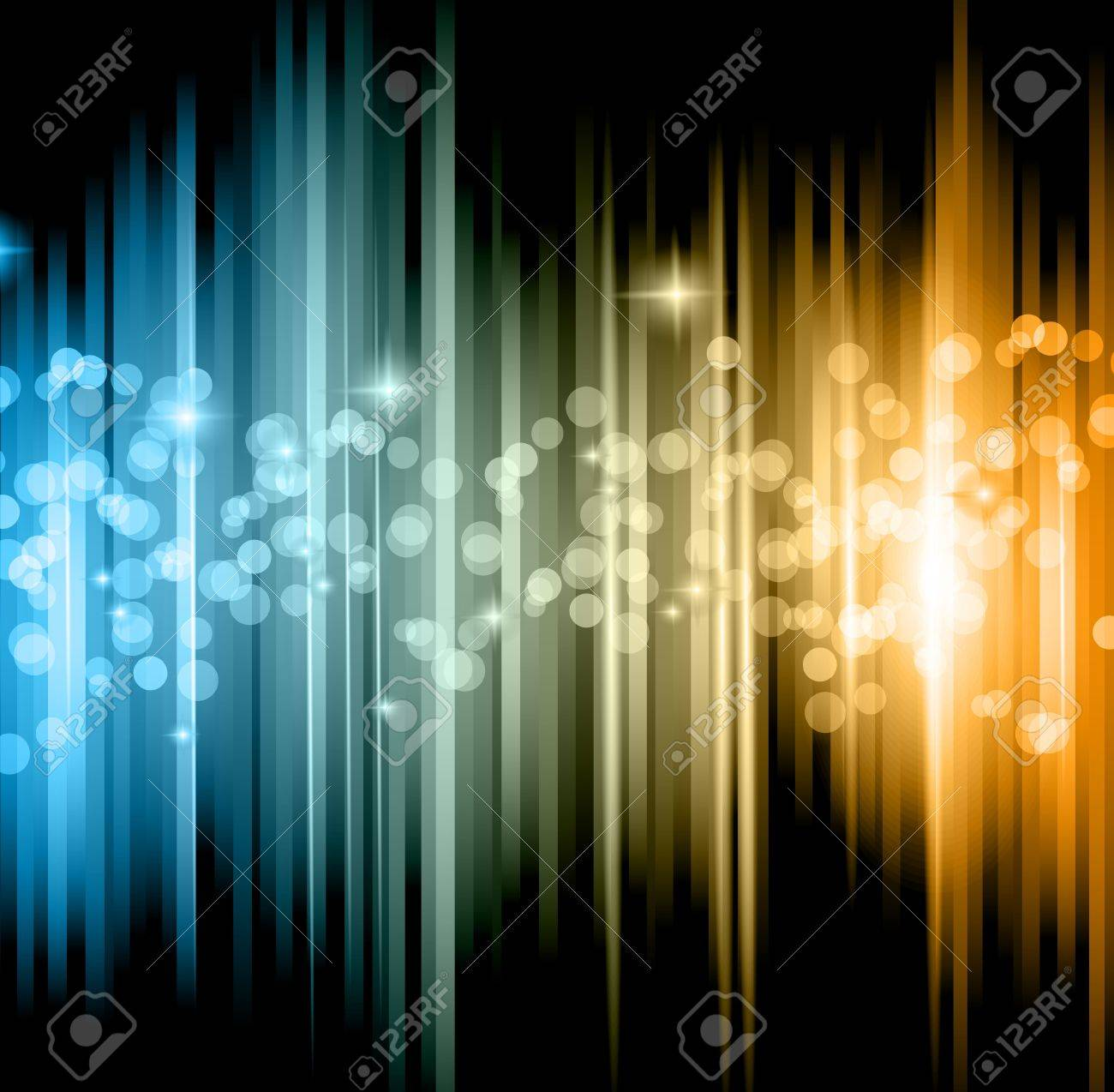 Abstract futuristic background with striped lights and a flow of sparkling stars. Stock Vector - 14853081
