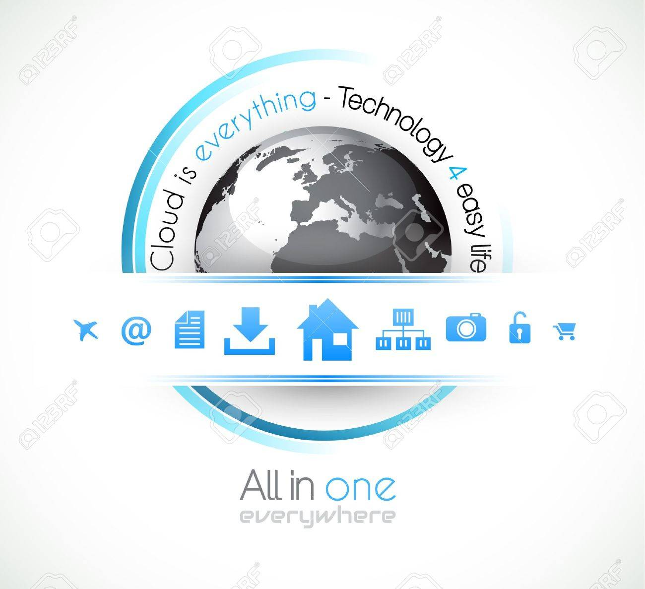 Cloud Computing conceptual image poster with a lot of themed