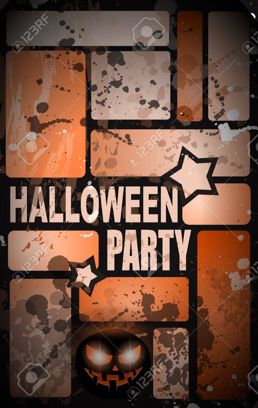 Halloween Horror Party Flyer With A Lot Of Themed Elements And ...