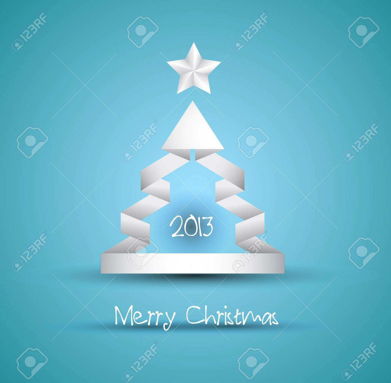 Christmas tree design with origami paper style. Ideal for simple elegant invitation flyers, poster backgrounds or gift books cover. Stock Vector - 15435054