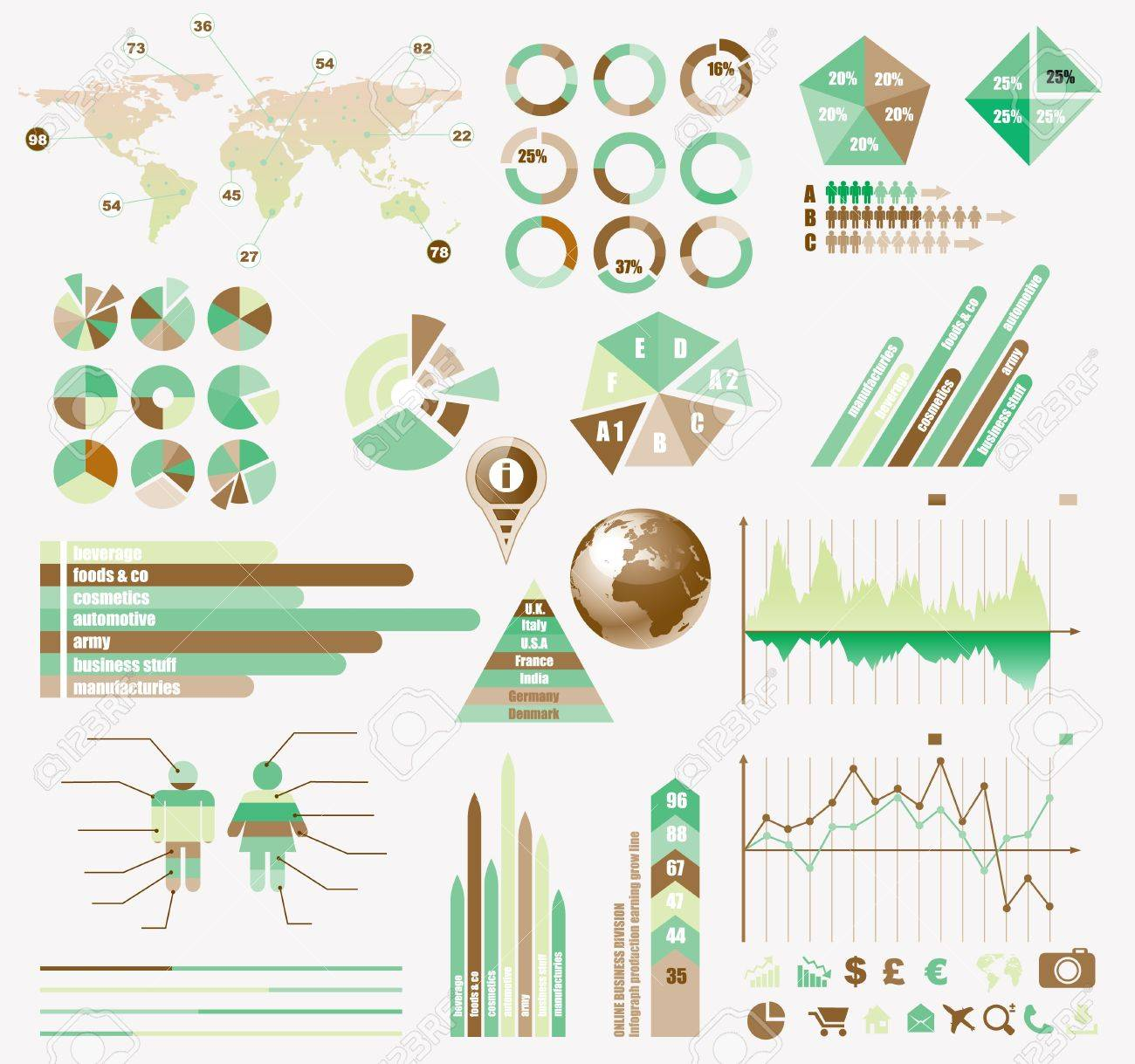 Premium Retro infographics eco  collection: graphs, histograms, arrows, chart, 3D globe, icons and a lot of related design elements. Stock Vector - 15435046