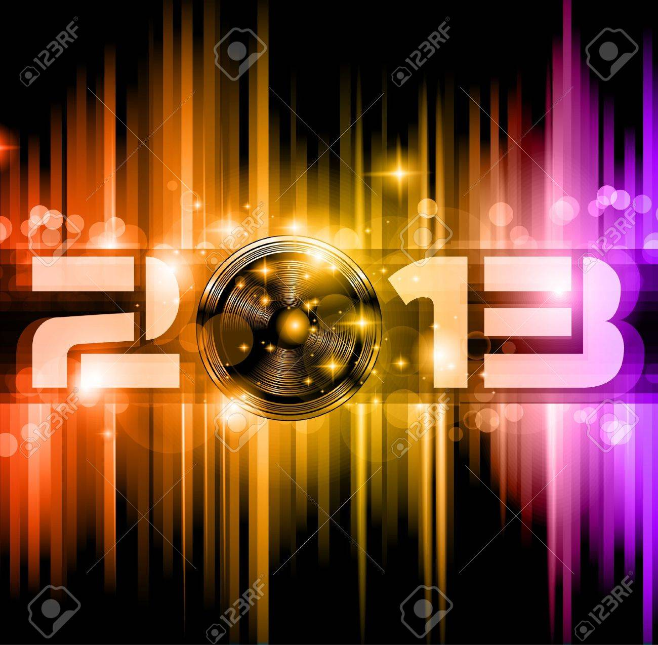 Colorful 2013 New Year Celebration Background with Glitter and Rainbow Colours Stock Vector - 15912332