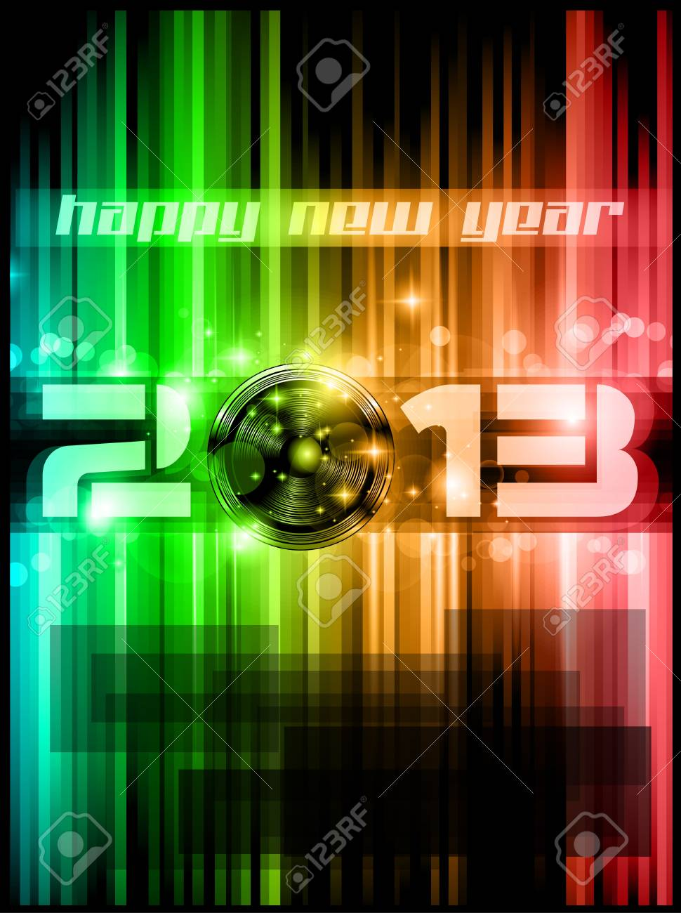 Colorful 2013 New Year Celebration Background with Glitter and Rainbow Colours Stock Vector - 16004695