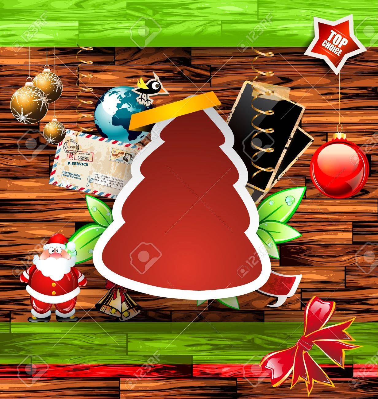 Christmas Vintage scrapbook composition with old style distressed postage design elements and antique photo frames plus some post stickers. Stock Vector - 16004700