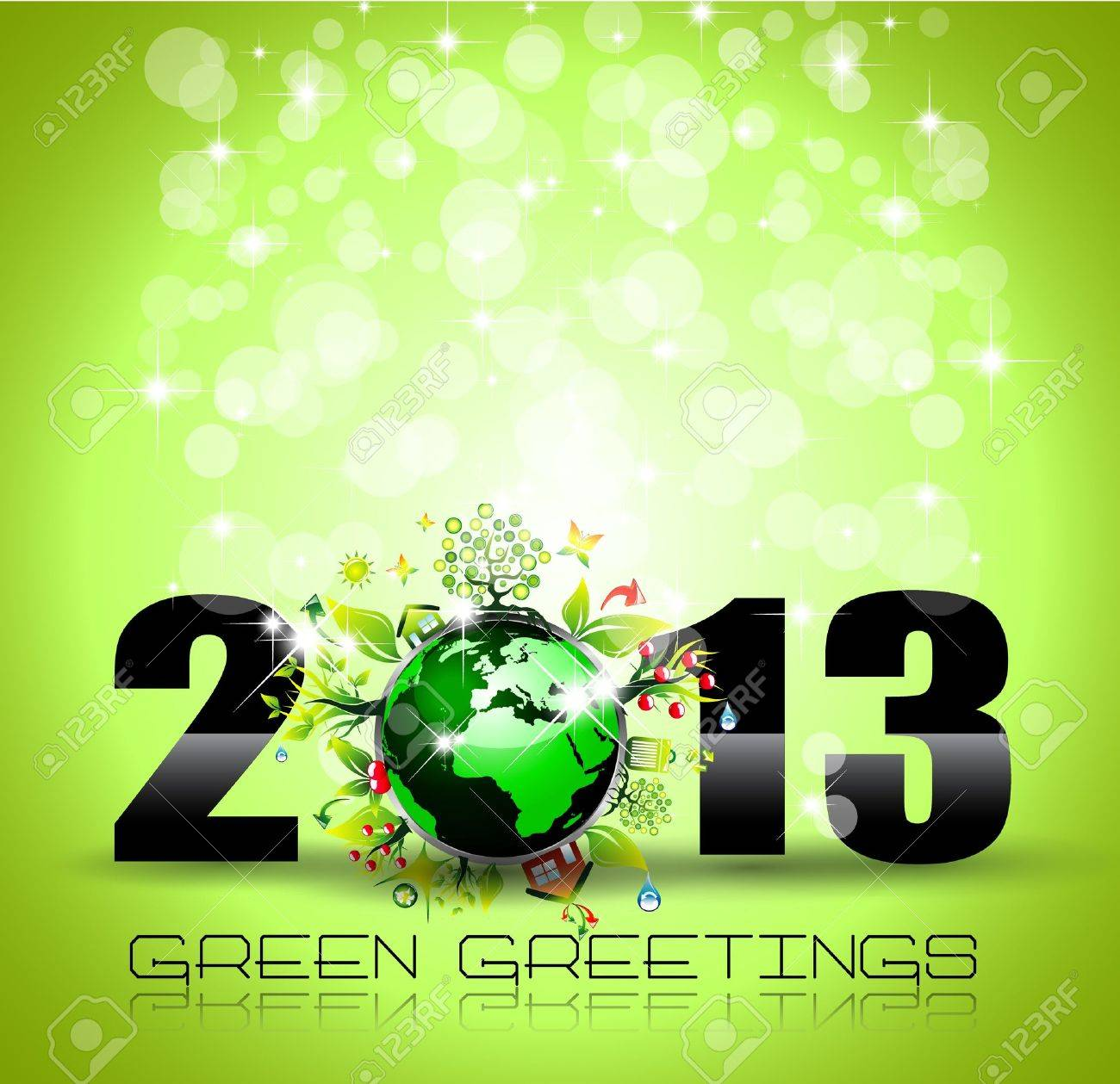 2013 Ecology Green Themed Greetings for New Year Posters with a glitter background Stock Vector - 16642603