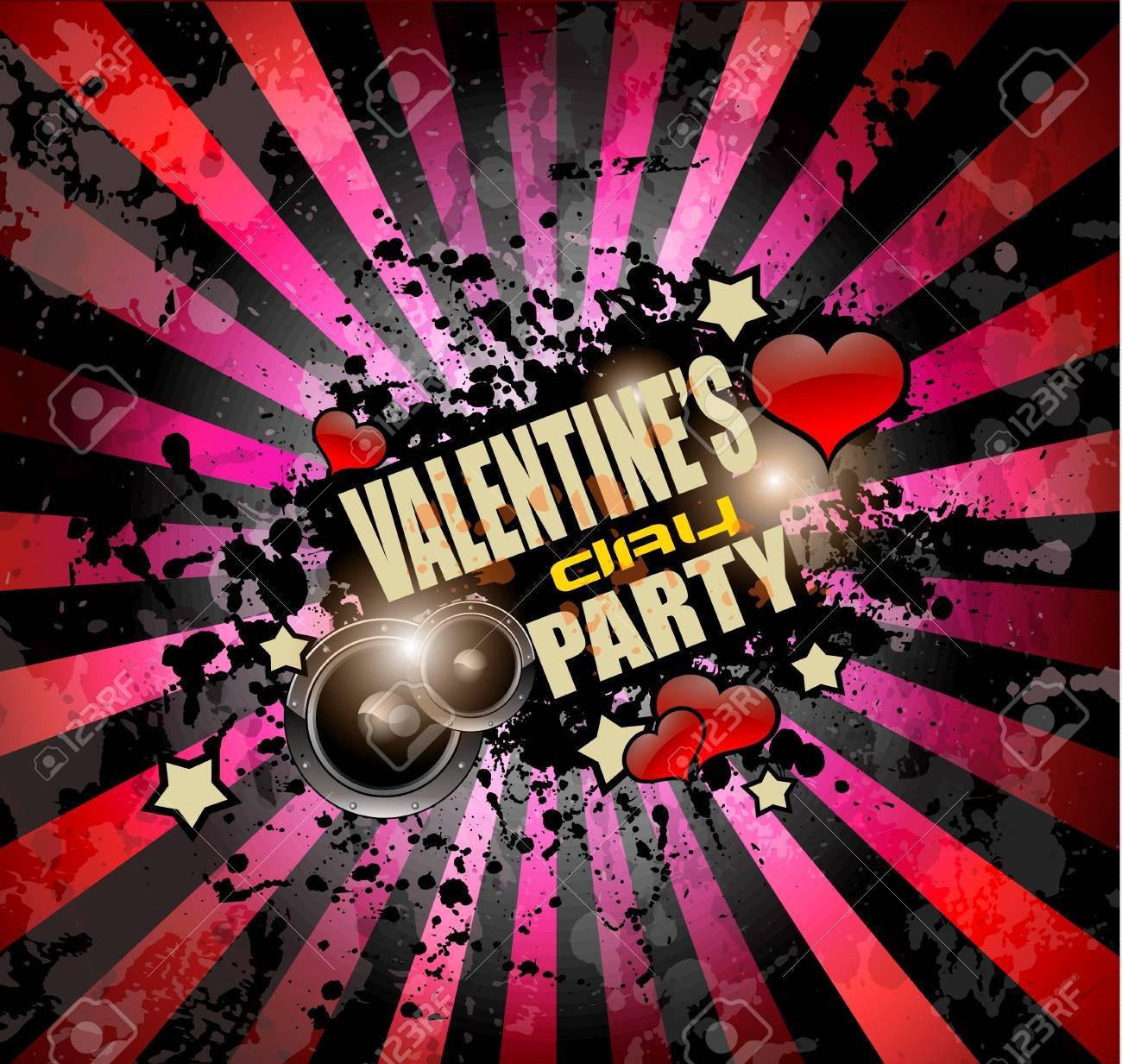 Valentine\'s Day Party Invitation Flyer Background With Love Themed ...