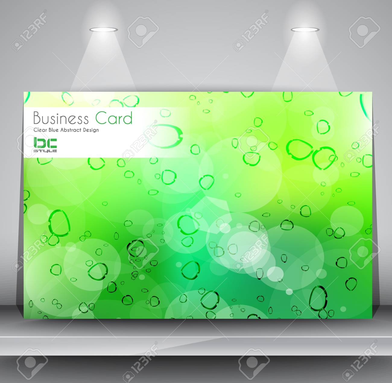 Elegant Business Card Design Template. Fully editable and ready to place your text. The card is over a shelf  with two spotlights over it. Stock Vector - 17962623