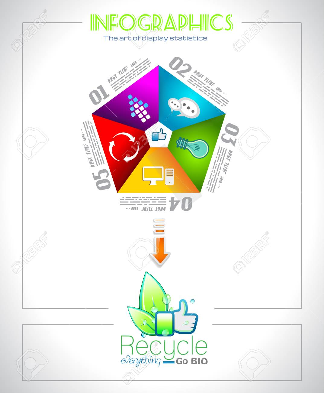 Infographic design  for  BIO product ranking - original paper geometric shape with shadows. Ideal for statistic data display. Stock Vector - 18084120