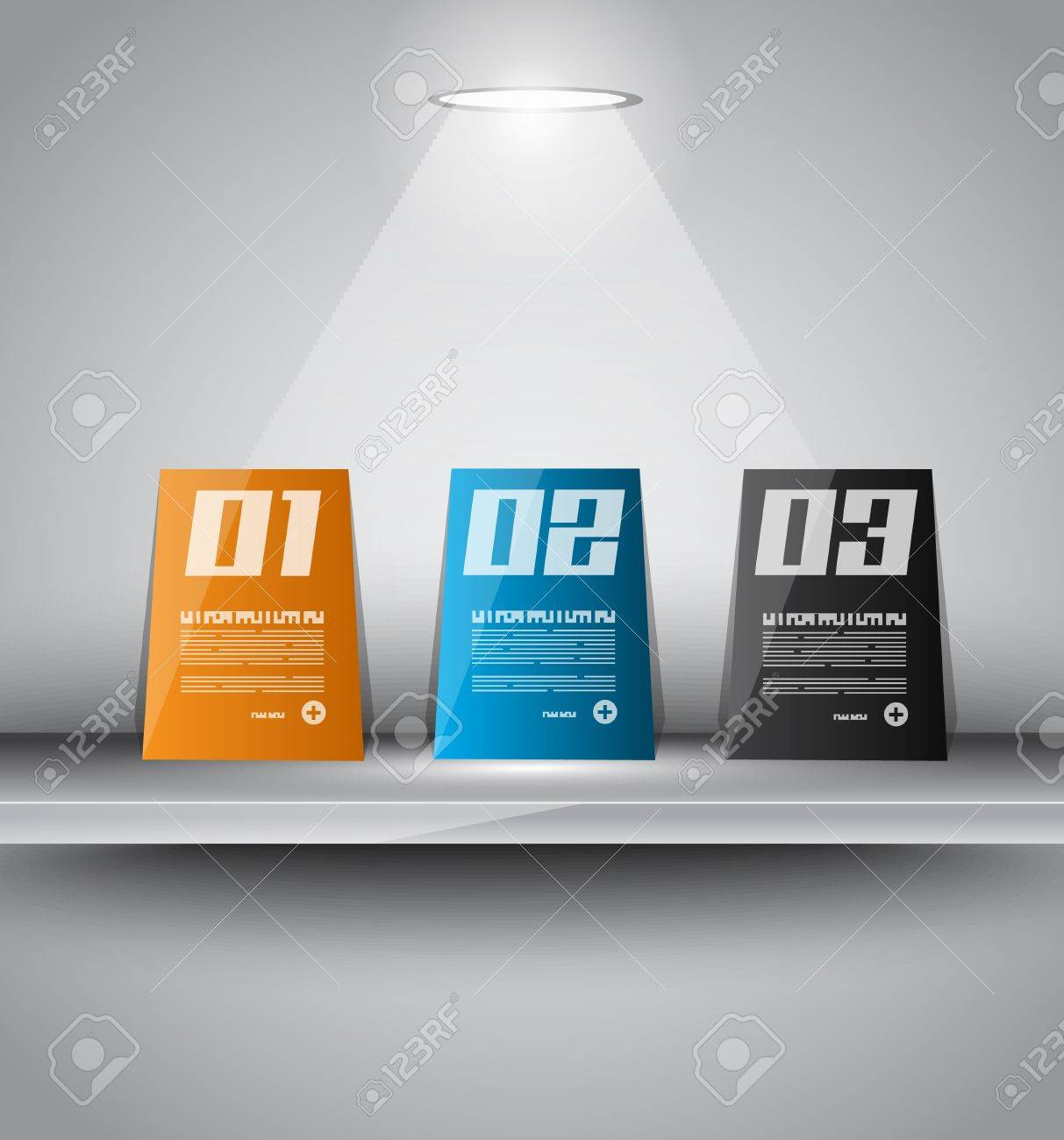 infographics paper panels over a modern shelf with led spotlights. Delicate lights and shadows. Stock Vector - 18513002