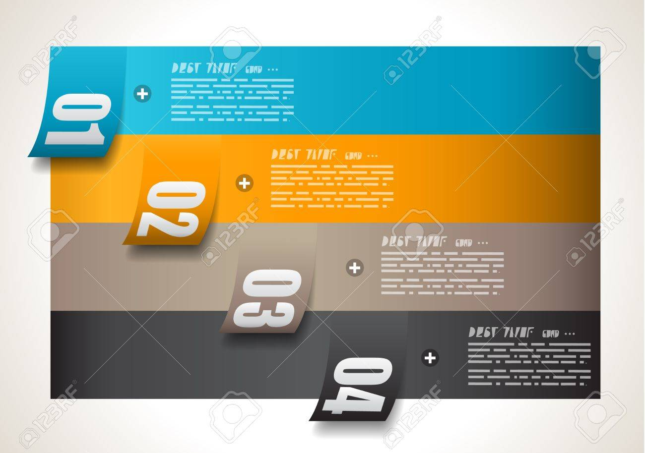 Infographic design template with paper tags. Idea to display information, ranking and statistics with orginal and modern style. Stock Vector - 18525898