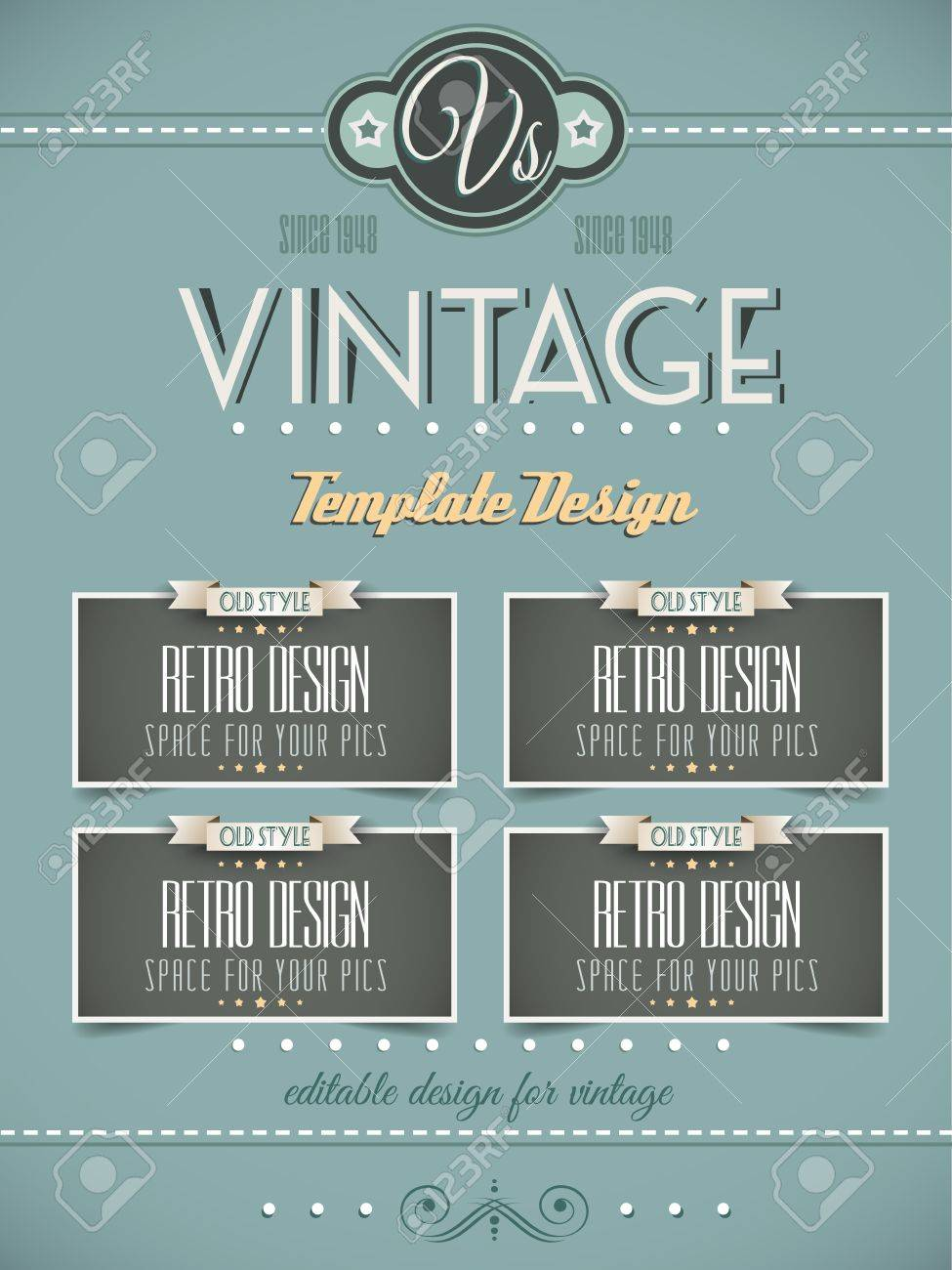 vintage retro page template for a variety of purposes website