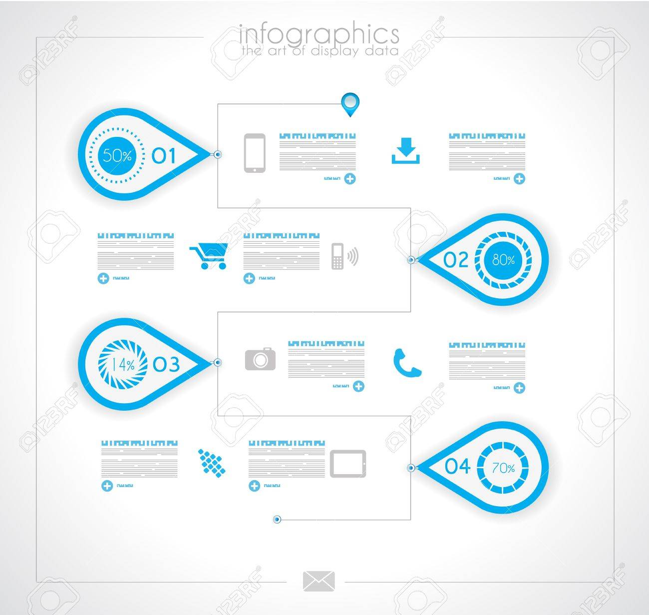 Infographic timeline design template with paper tags. Idea to display information, ranking and statistics with orginal and modern style. Stock Vector - 19335942