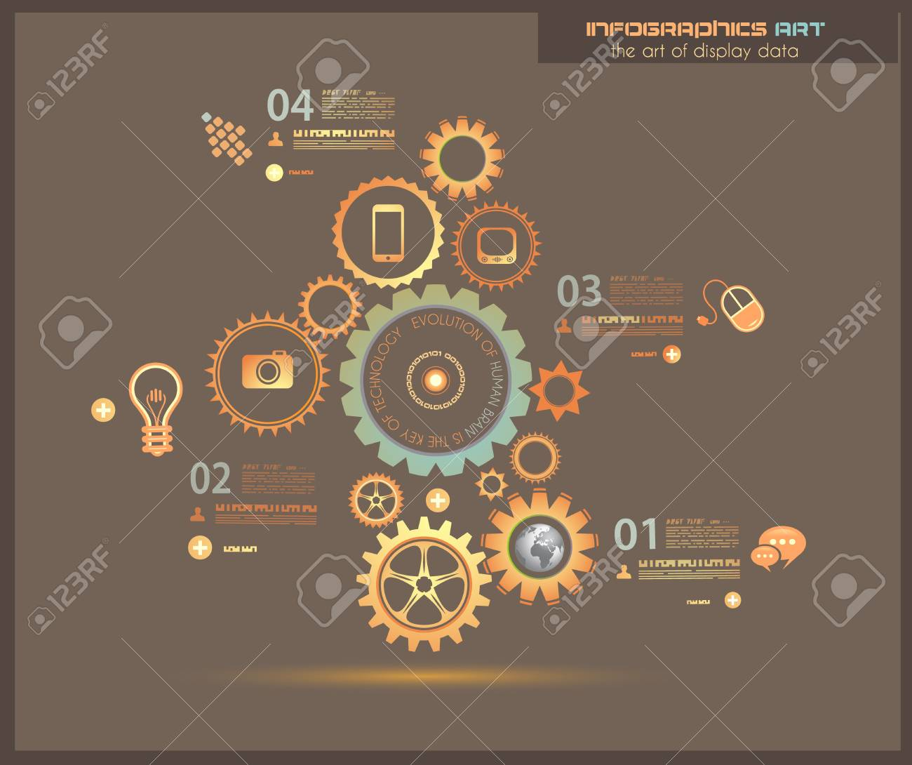 Infographic design template with gear chain. Ideal to display information, ranking and statistics with orginal and modern style. Stock Vector - 19657029