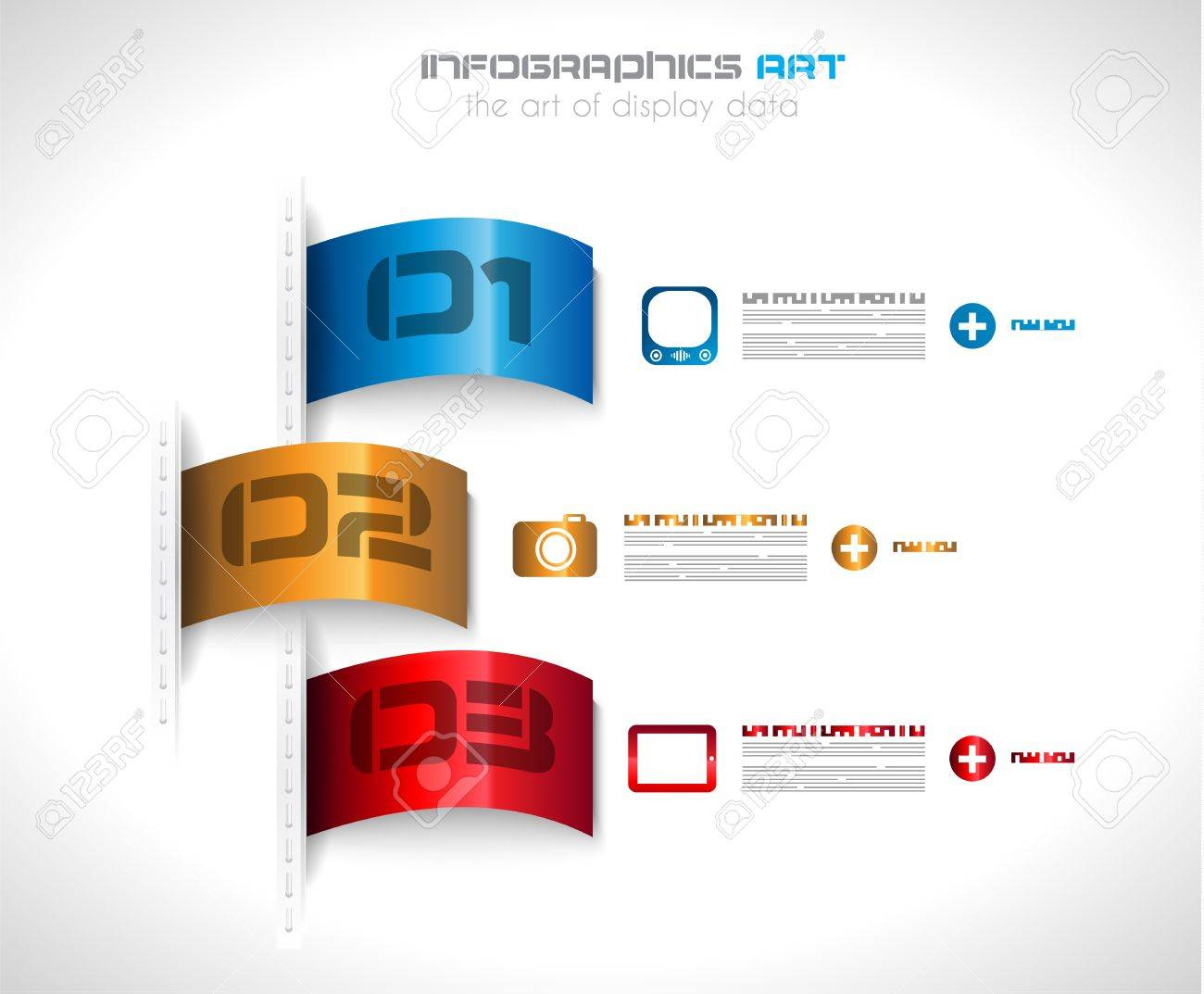 Infographic design template with paper tags. Ideal to display information, ranking and statistics with orginal and modern style. Stock Vector - 19656971