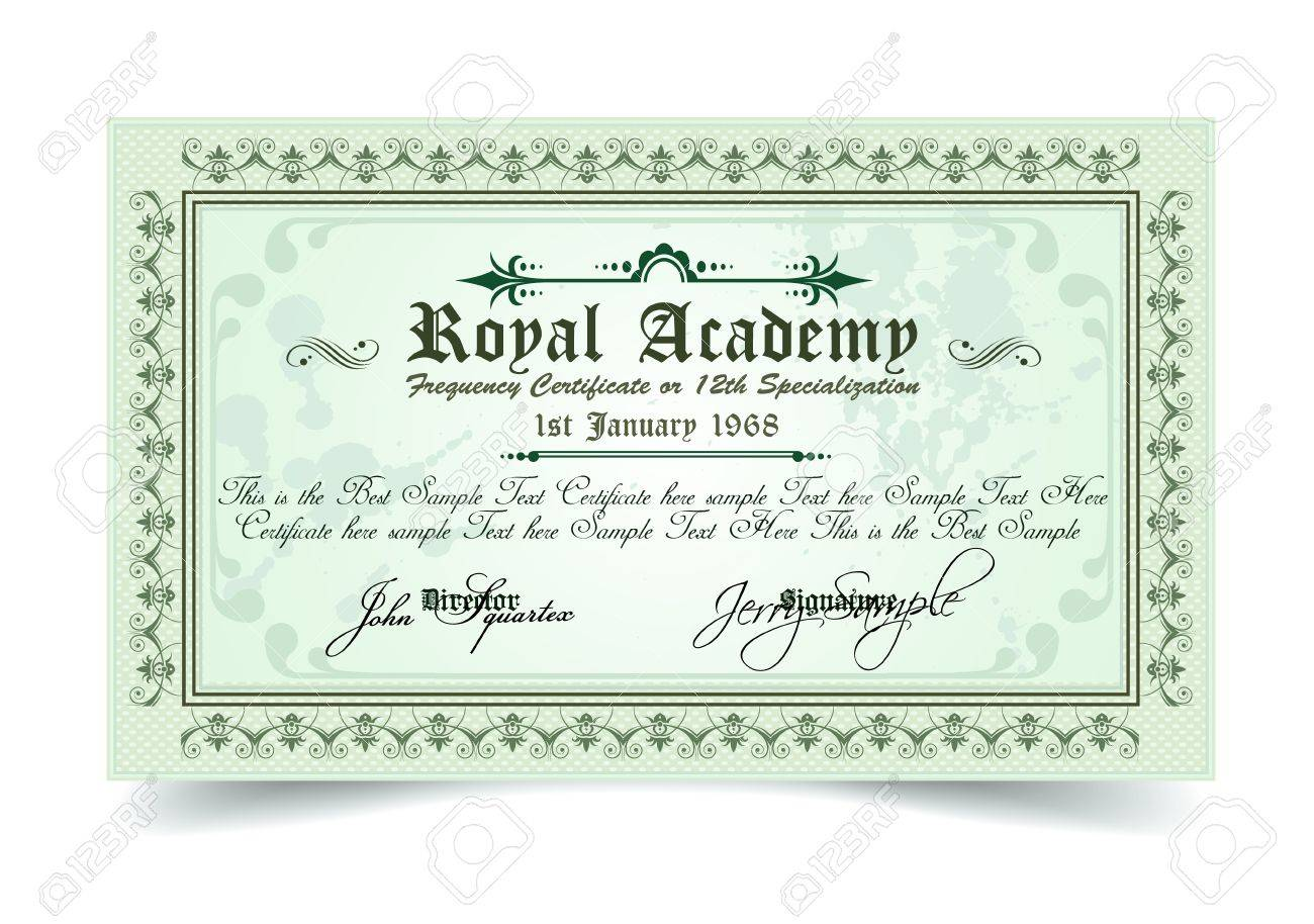 Certificate for differrent with a lot of details and filigrans. Regal and elegant design. Ready to use. Stock Vector - 20226901