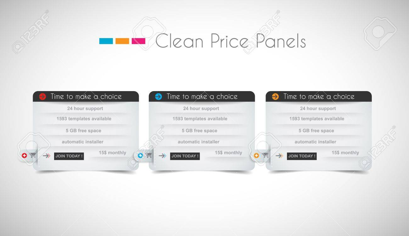 Web price shop panel with space for text and buy now button. Clean design and uniform colors with delicate shadows. Ideal for ecommerce cart. Stock Vector - 20226888