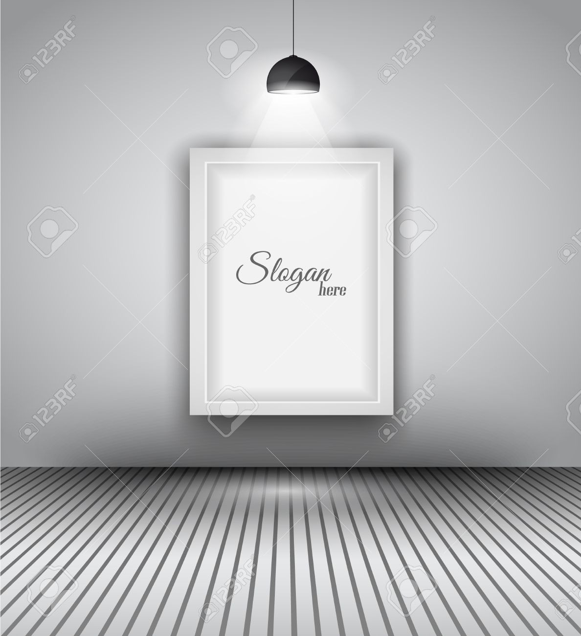 Modern Interior Art Gallery Frame Design With Spotlights. Shelf, Spotlight  With Directional Light,