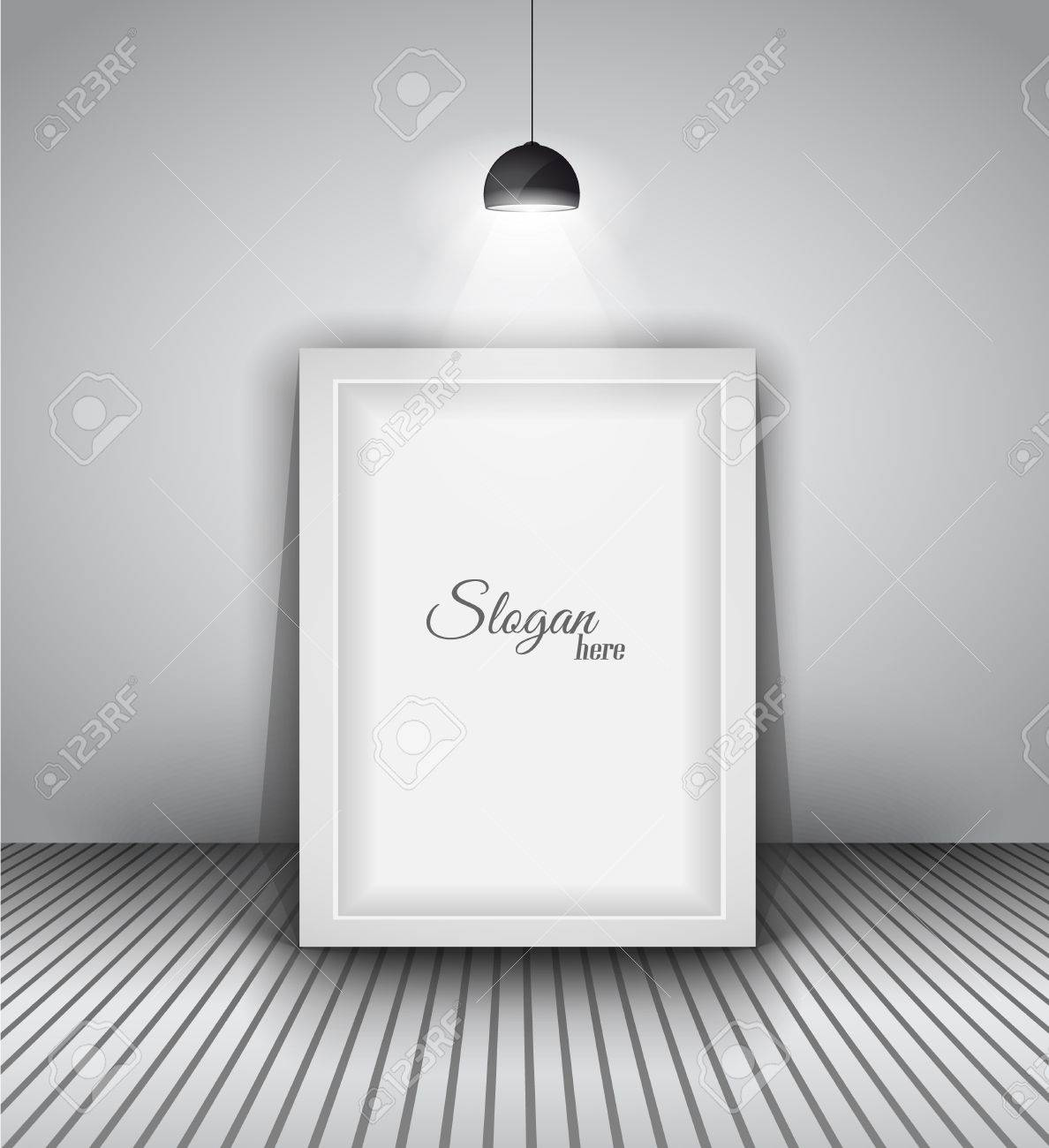 Modern interior art gallery frame design with spotlights. Shelf, spotlight with directional light, delicate shadows and clean background. Stock Vector - 20226767