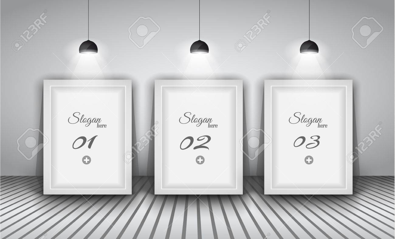 Elegant infographics design template with shopfront elements. lamp with directional spot lights and panel to past your products. Stock Vector - 20226795