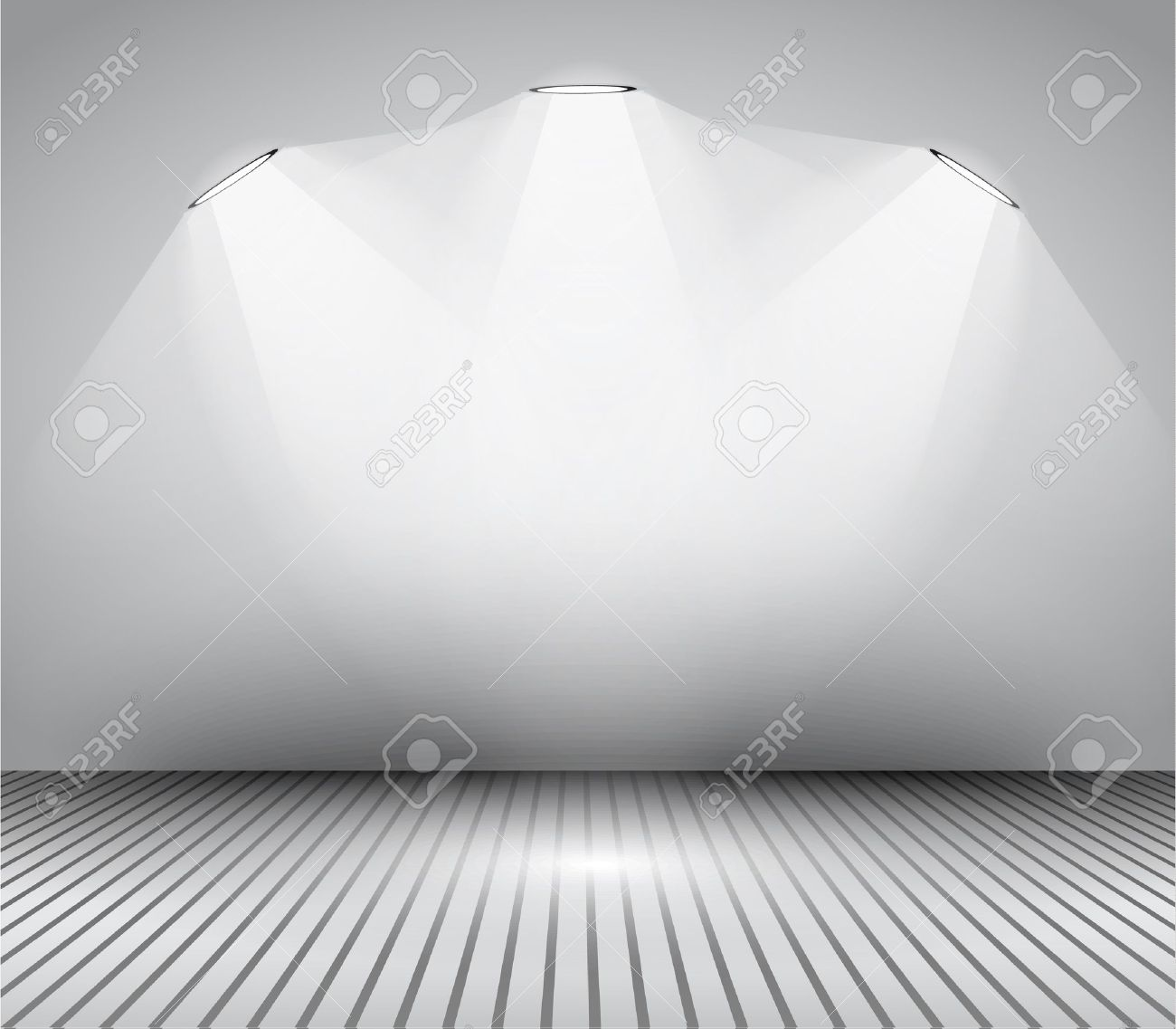 Modern interior art gallery frame design with spotlights. Shelf, spotlight with directional light, delicate shadows and clean background. Stock Vector - 21316472