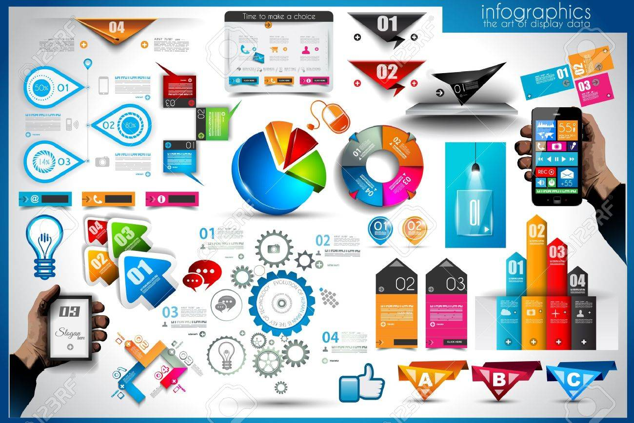 Infographic elements - set of paper tags, technology icons, cloud cmputing, graphs, paper tags, arrows, world map and so on. Ideal for statistic data display. Stock Vector - 21316499