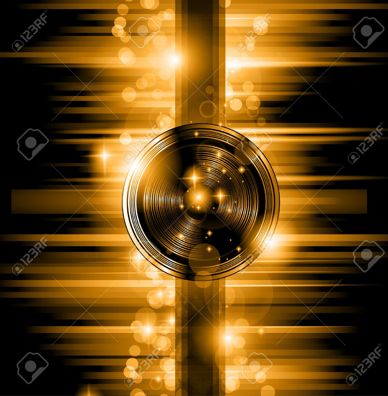 The Art of Disco Flyer - Stunning Speakers shape and a lot of stars and ray lights. Stock Vector - 22417758