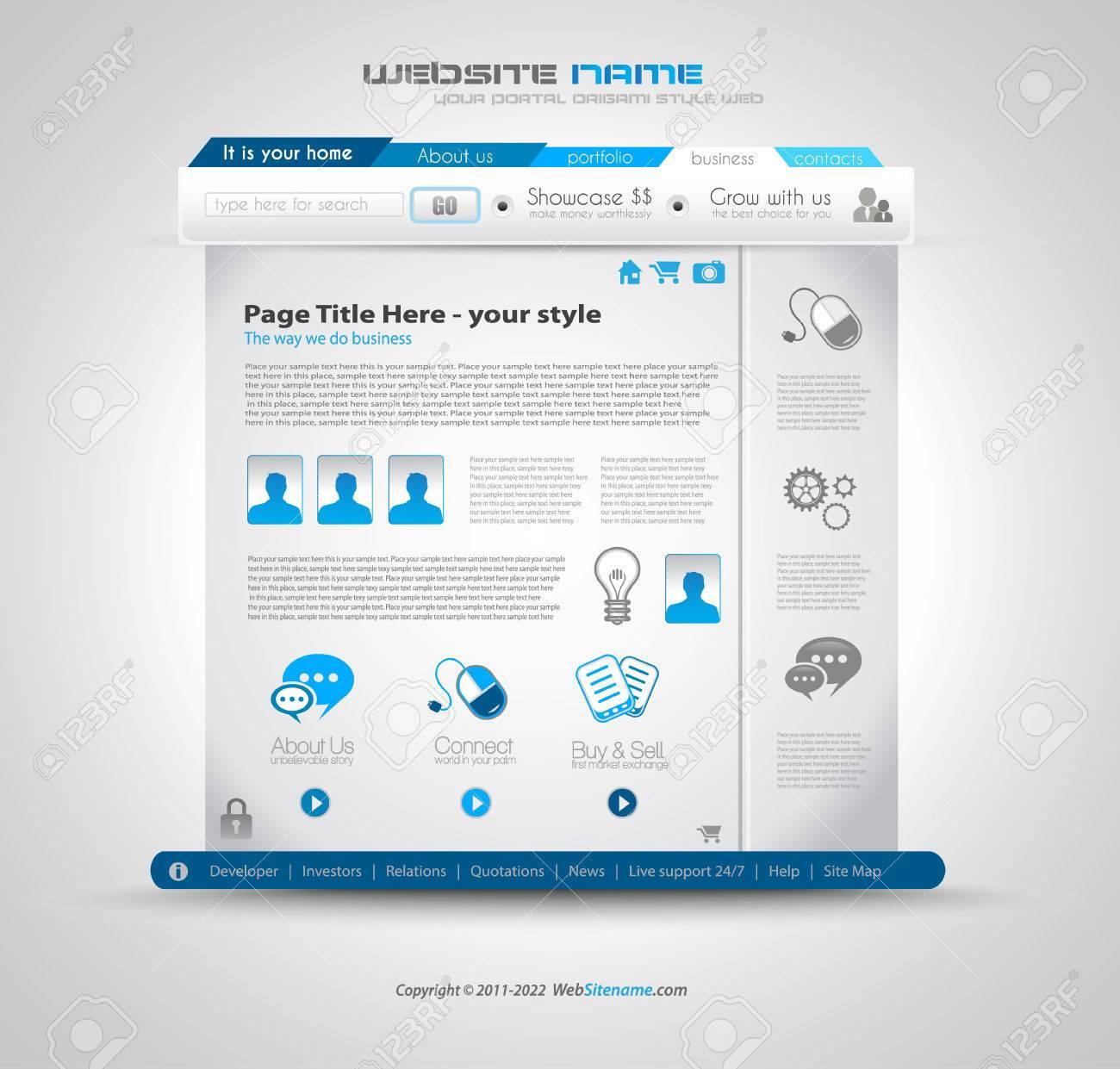 Qualität Sauberen Web-Design-Vorlage Für Blogs Und Websites. Icons ...