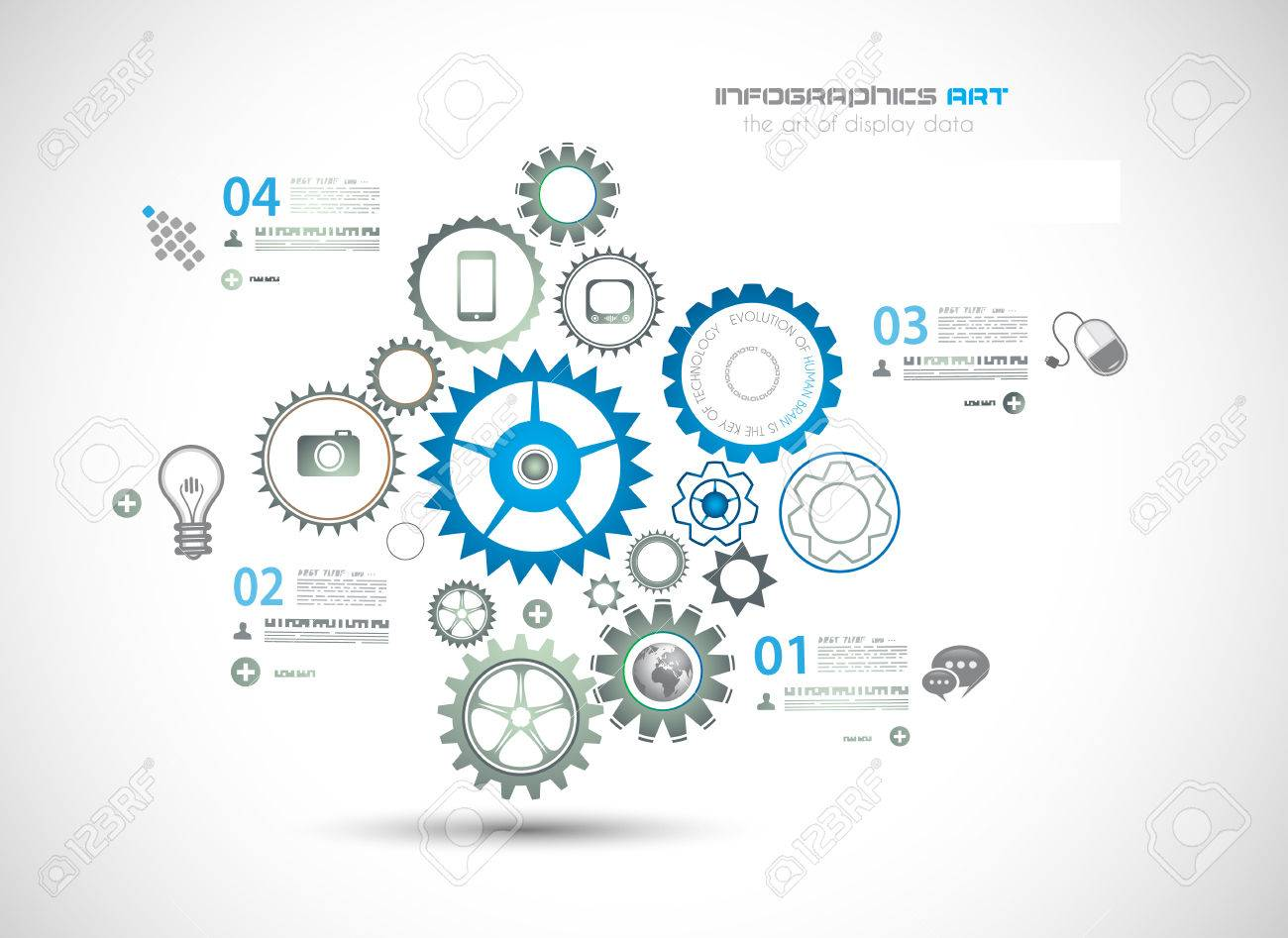 Infographic design template with gear chain. Ideal to display information, ranking and statistics with orginal and modern style. Stock Vector - 22770691