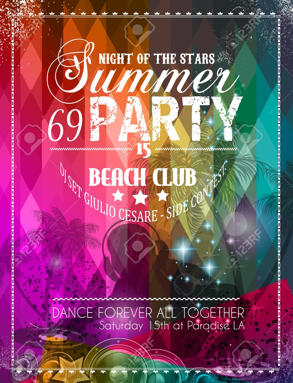 beach party flyer for your latin music event or poster royalty free