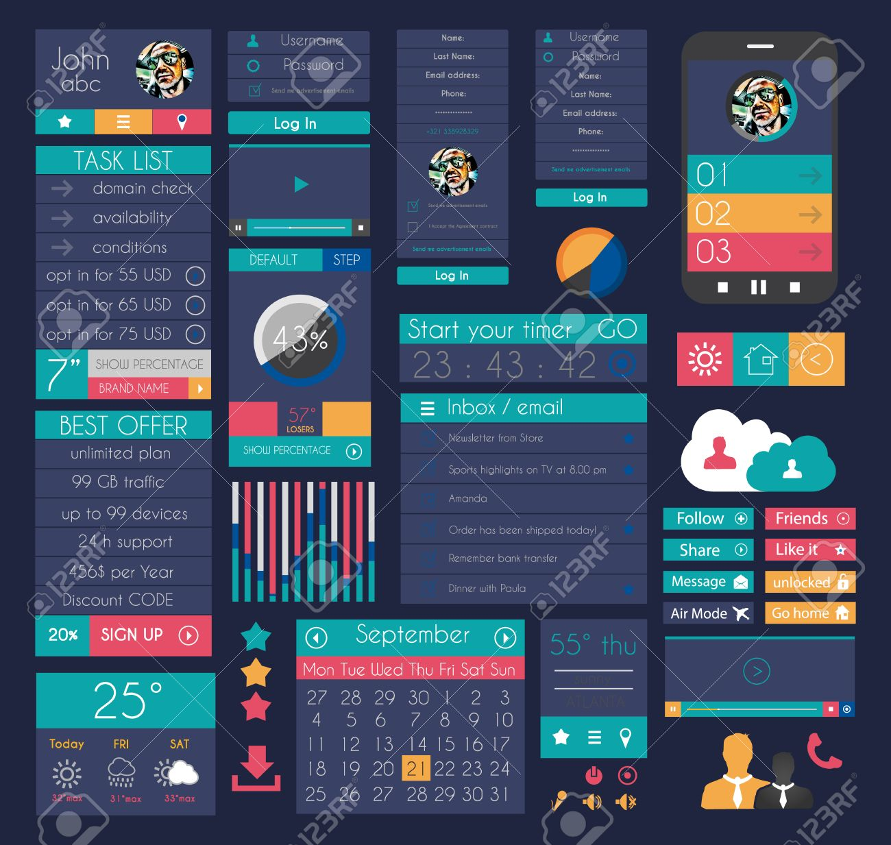 UI Flat Design Elements For Web, Infographics, Data Display ...