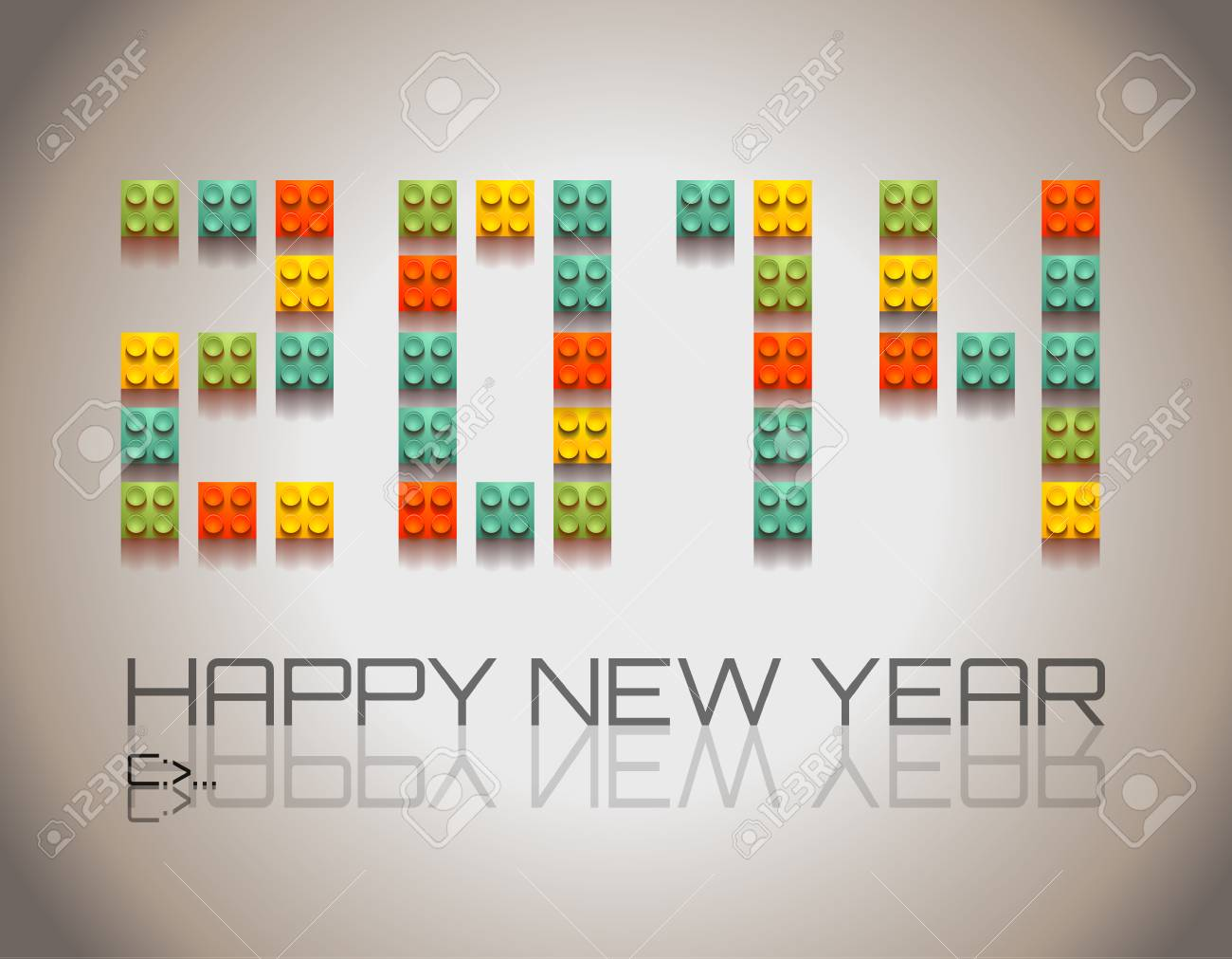 2014 Happy New Year background with  coloful plastic blocks with shadows! Stock Vector - 24418942