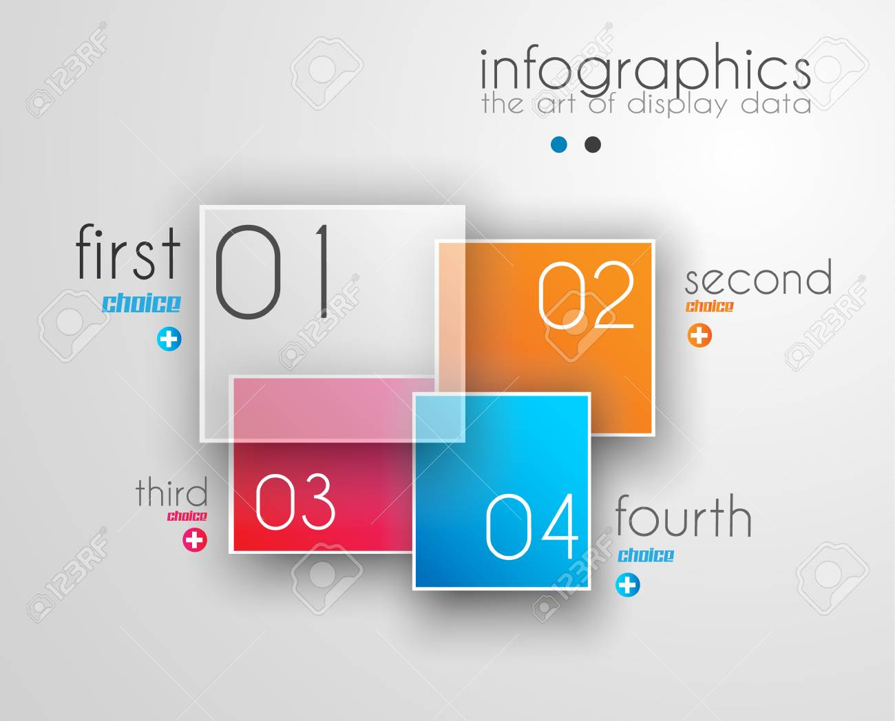 Infographic Design Template with modern flat style. Ideal to display data and for product ranking or generic classification of items. Stock Vector - 24570156