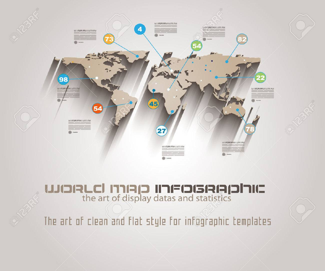 World map infographic template to display your global data royalty vector world map infographic template to display your global data gumiabroncs Gallery