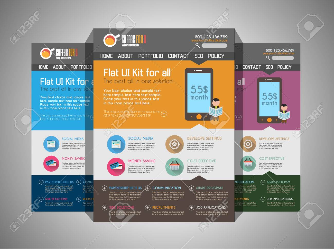 One page website flat UI design template  It include a lot of