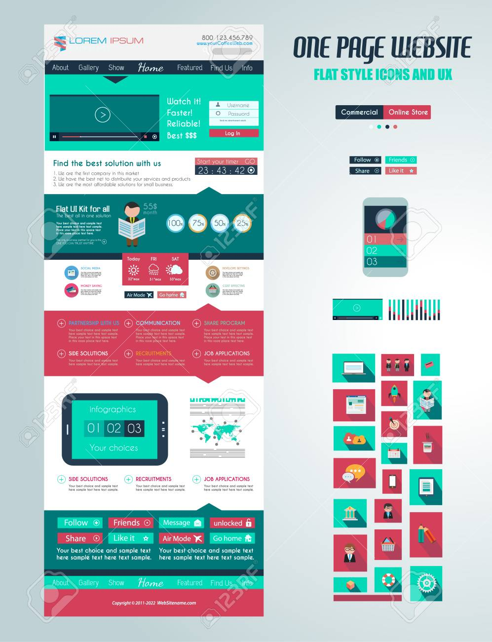 One page website flat UI design template. It include a lot of flat stlyle icons, forms, header, footeer, menu, banner and spaces for pictures and icons all in one page. Stock Vector - 29229757