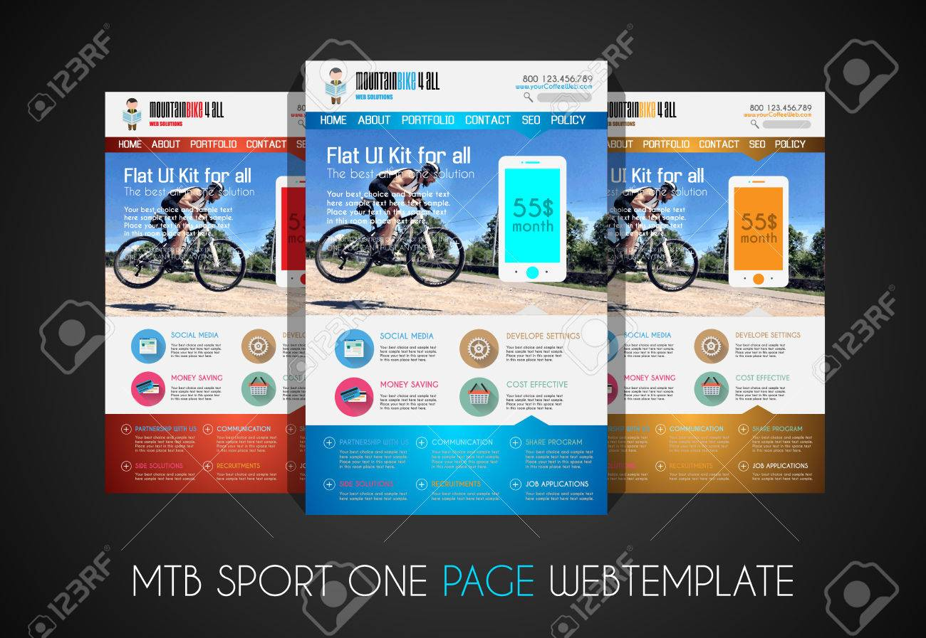 one page sport website flat ui design template it include a