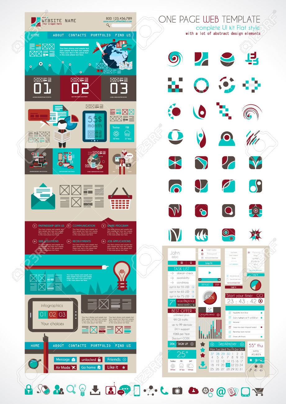 One page website flat ui design template it include a lot of one page website flat ui design template it include a lot of flat stlyle icons maxwellsz