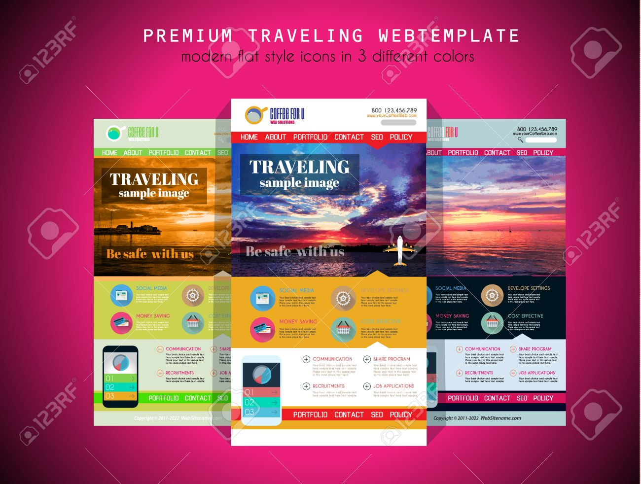 One Page Travel Website Flat Ui Design Template It Include A Lot Of