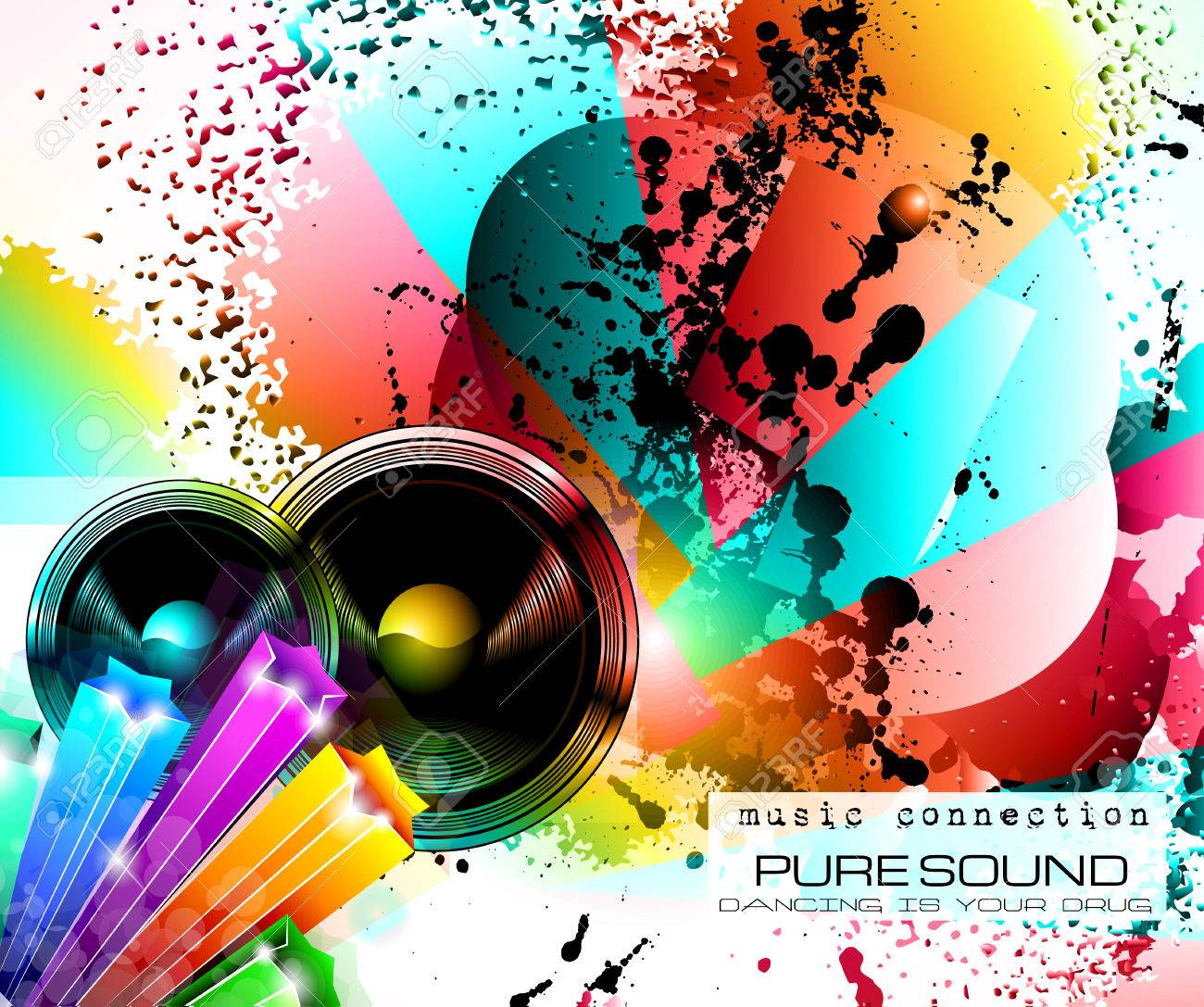 party club flyer for music event with explosion of colors includes