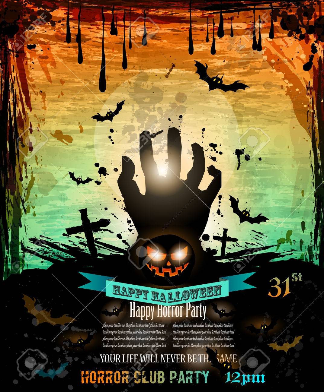 halloween party flyer with creepy colorful elements with a black