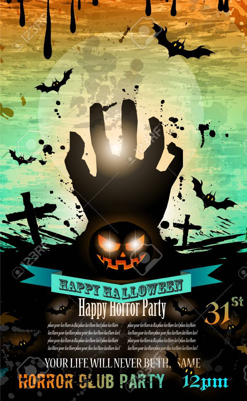 Halloween Party Flyer With Creepy Colorful Elements With A Black ...