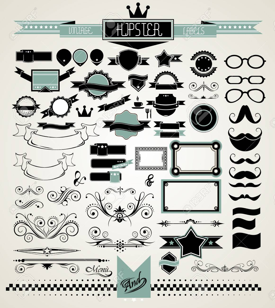 Mega Set Vintage Labels Für Ihre Hipster Designs.Labels, Bänder ...