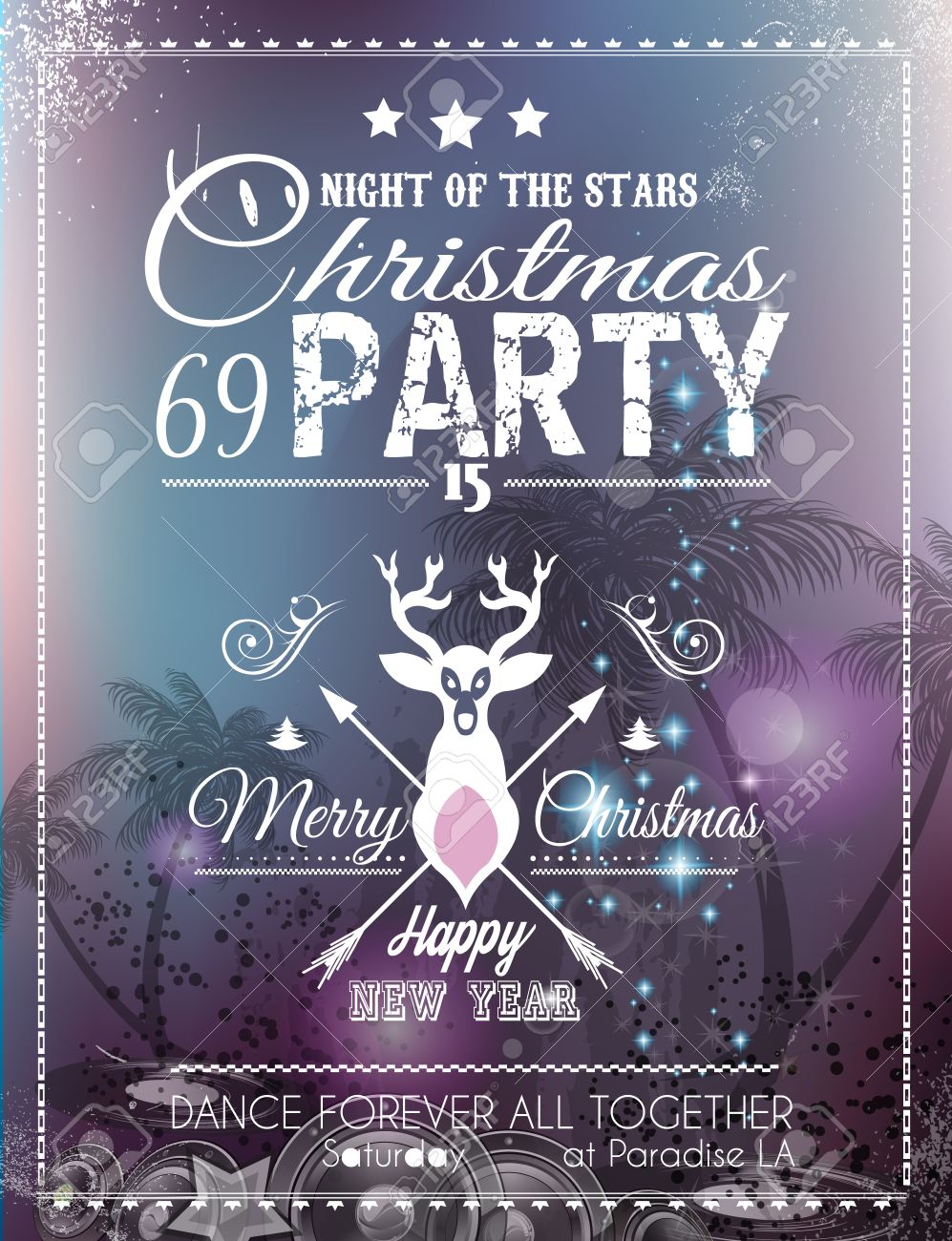 Christmas Party Flyer For Club And Disco Events. Ideal For Musical ...