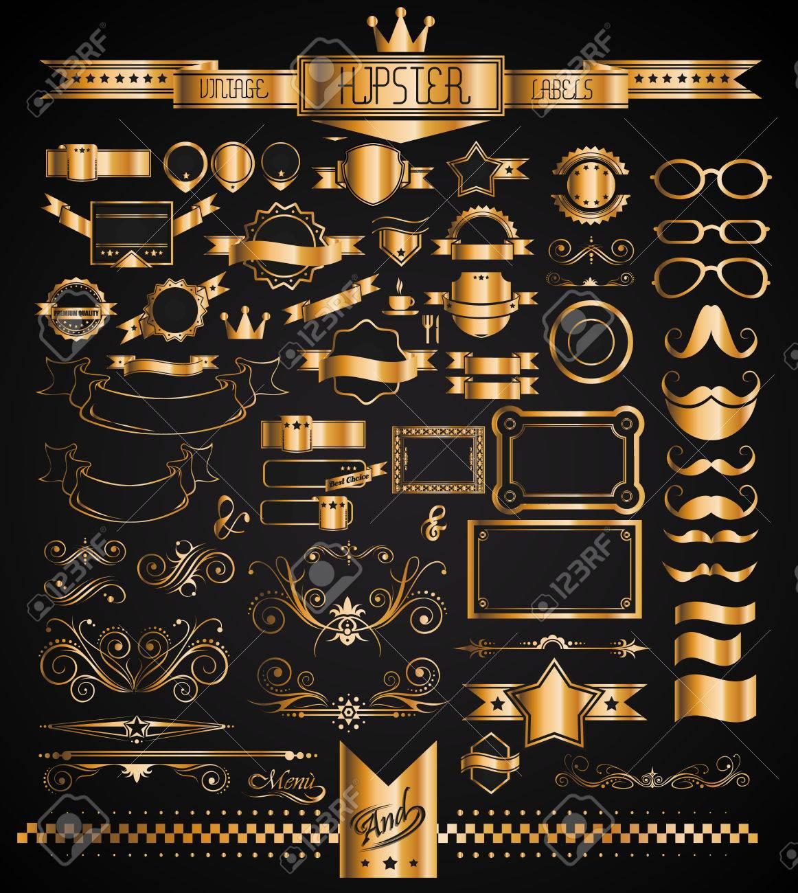 mega set of vintage golden labels for your hipster designs labels