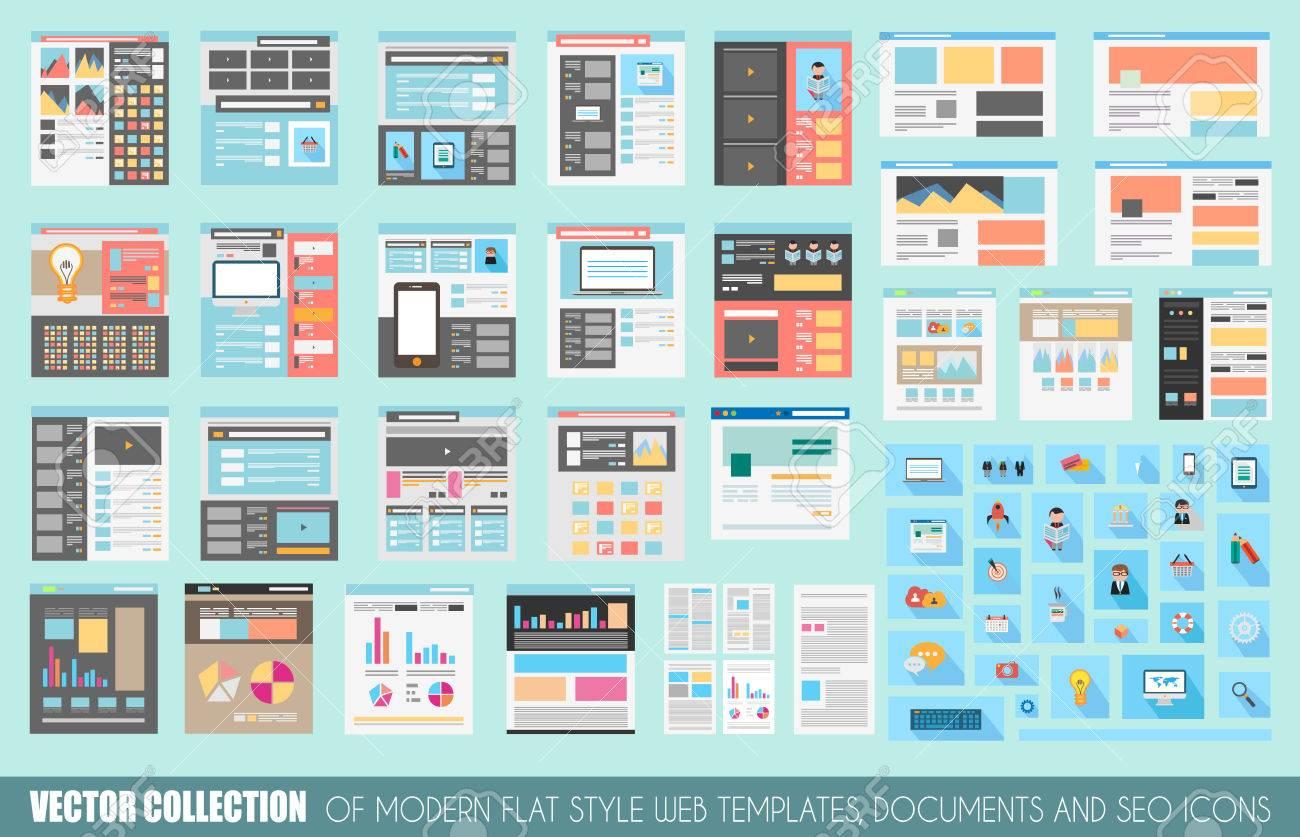 Mega Sammlung Von Flat Style Webseite Vorlagen, Bettwäsche, Icons ...