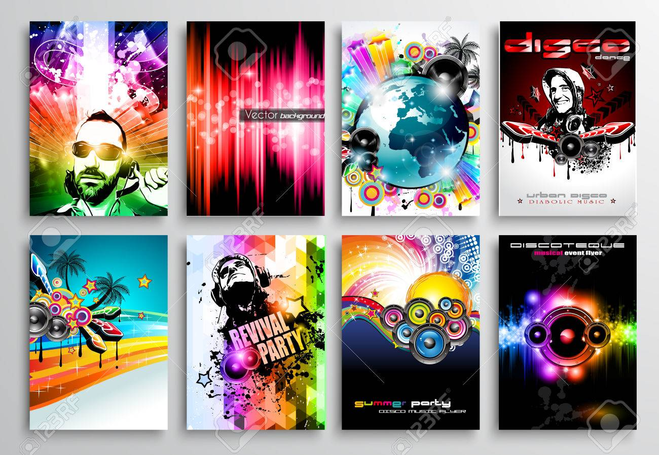 Download Wallpaper Music Pop Art - 34084795-set-of-club-flyer-design-party-poster-templates-music-event-backgrounds-rock-and-pop-wallpapers-and-  Image_353126.jpg